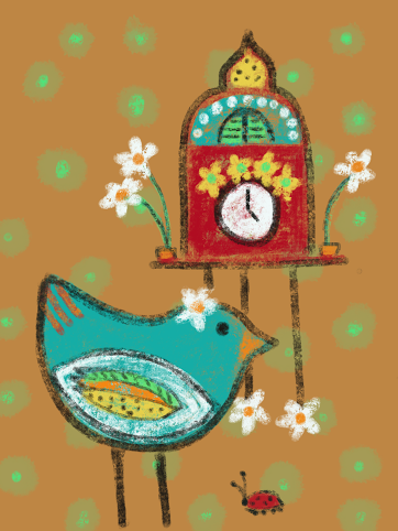 Bird clock and ladybug